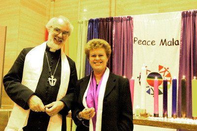 The Most Revd Dr Rowan Williams with Pam Evans at the Peace Mala launch