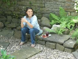 Dr Penny Sartori in the peace garden at Peace Mala HQ, summer 2006