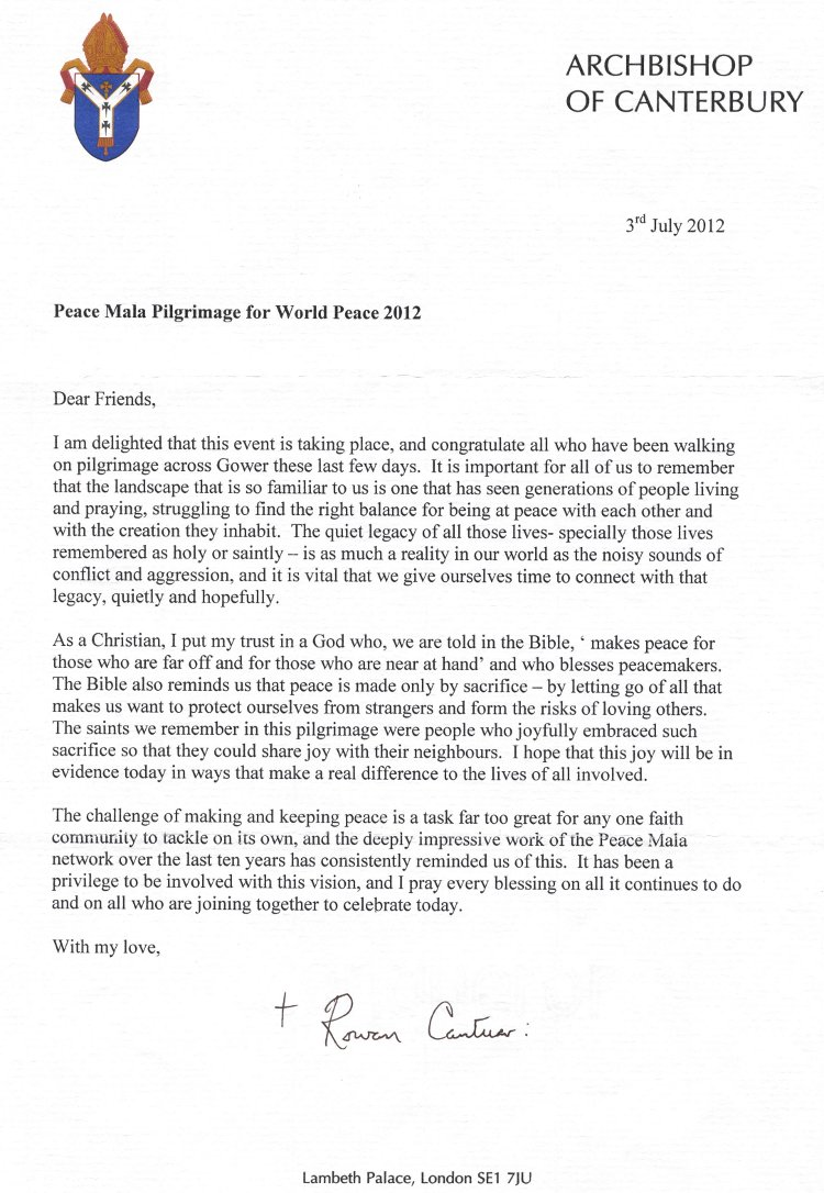 Letter from Dr Rowan Williams supporting the Peace Mala Gower Pilgrimage