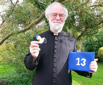 Dr Rowan Williams with the Peace Mala symbolic dove of peace for interfaith and cultural friendship