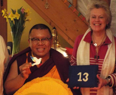 Rinpoche with the Symbolic Interfaith Dove of Peace and Founder Pam Evans