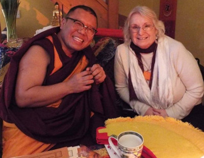 Rinpoche with Dr. Joan Howell, Founder of the School of Metaphysics Wales