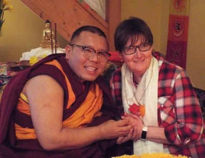 Rinpoche with Dalleen Jones, Admin Officer for Peace Mala