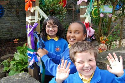 St Helen's pupils in their Peace Garden