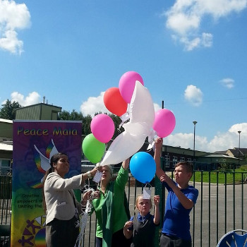 Release of peace balloons