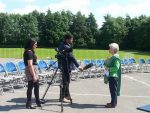 Pam Evans being interviewed for ITV Calender News.