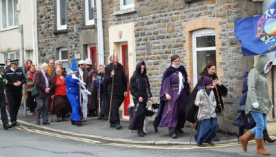 Pilgrims in procession through Morriston