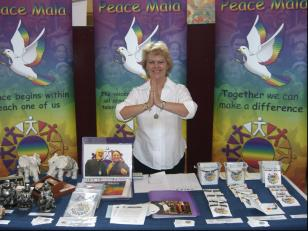 Pam Evans on the Peace Mala stall at the Indian Mela