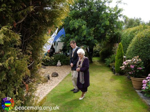 Lord Mayor Cllr Margaret Smith and Consort Mr Christopher Rees in the Peace Garden