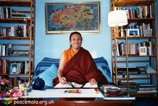Lama Khymisar Rinpoche in the Tibetan Room at the Peace Mala Centre