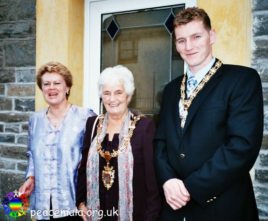 Lord Mayor Cllr Margaret Smith, Consort Mr Christopher Rees and Pam Evans outside the Peace Mala Centre