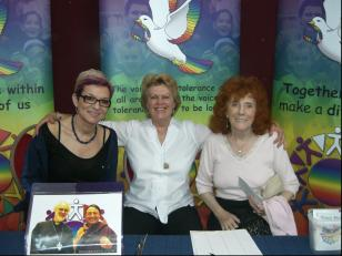 Bernice Mayne (Terence Higgins Trust) Pam Evans (Founder of Peace Mala) and Iris Gower (Internationaly popular Welsh romantic novelist from Swansea Wales)