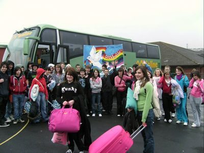 Students from St John Lloyd Catholic Comprehensive School, outside the school on Maundy Thursday, waiting to board the bus for their pilgrimage