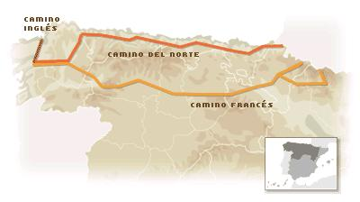 Map showing routes of the Camino in Northern Spain