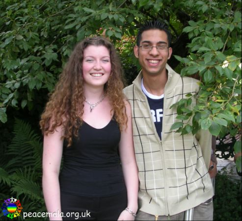 Kelly-Anne Thomas and Imran Sheikh, Peace Mala youth team leaders in the Peace Garden