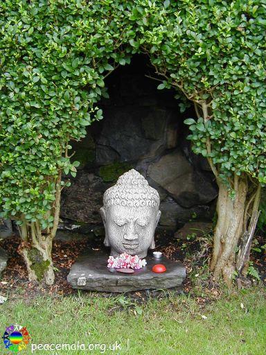 Buddha head in the Peace Garden