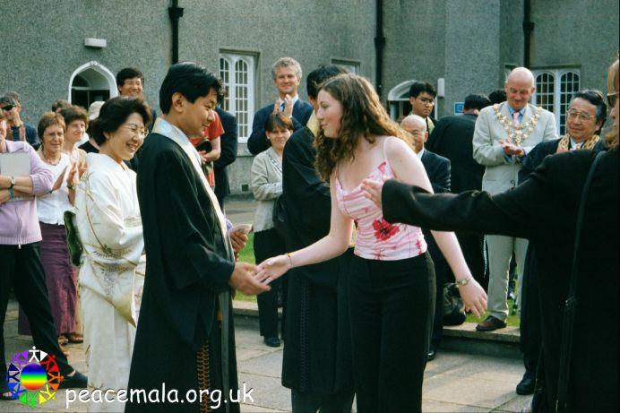Kelly-Anne Thomas presenting a Peace Mala to The Primate's brother, The Venerable Shoji Otani