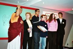 "Imran Sheikh holding the Childline CHIPS Award - Lama shouting ""Peace Mala!"""